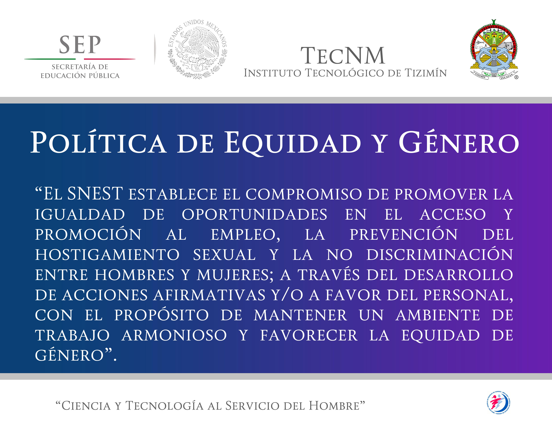 POLITICA DE EQUIDAD DE GENERO