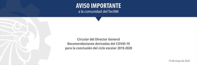 Comunicado Dirección General TecNM 19-05-2020